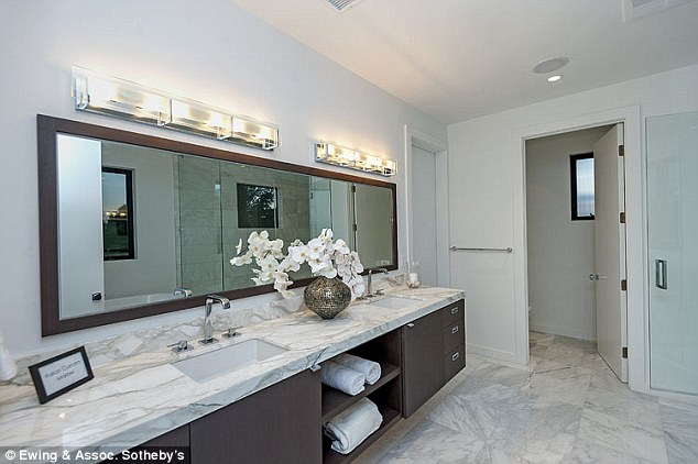 Perfect for the vain Lord Disick: The TV star has a bathroom with a wide mirror