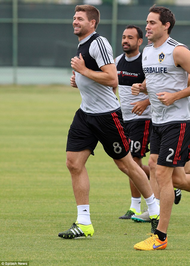 Sporting superstar: Steven, 35, was pictured at an LA Galaxy training session at the city's Stub Hub Arena on Tuesday as he prepares to make his club debut on July 18