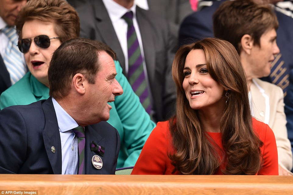 Having a chat: The Duchess also chatted to Philip Brook (left), the chairman of the All England Lawn Tennis Club