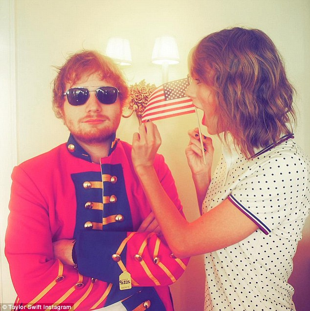 Fighting again: Wearing a red coat of the sort used during the Revolutionary War, Ed Sheeran pushed back against the theme of the holiday
