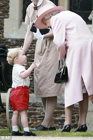 Close: The Queen speaks to Prince George and his nanny, Maria Teresa Borallo, after the service on Sunday