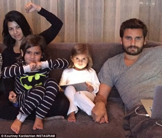 Family: Kourtney and Scott have three children together: five-year-old Mason, Penelope, who turns three on Wednesday, and six-month-old Reign (not pictured)