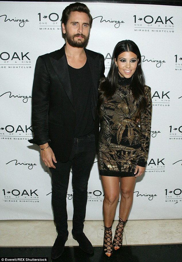 It's over: It was claimed on Monday that Kourtney and Scott (pictured in May) have split after nine years