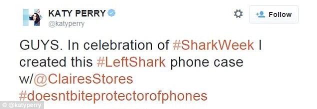 Spread the news: The Roar singer announced the launch of the official phone case in a tweet, noting that she had timed the launch so it coincided with iconic TV special Shark Week