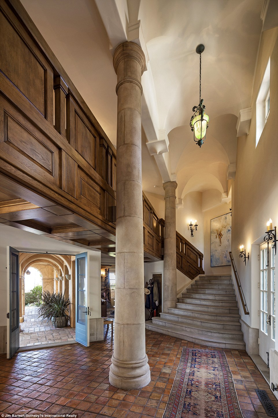 Up and away: A stairway is seen leading toward a higher floor inside Villa Santa Lucia