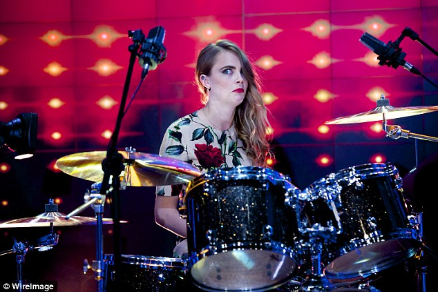 Smashing it: The 22-year-old looked like she had not counted on being asked to play on the show