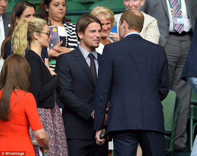 Hollywood royalty meets actual royalty: Josh and Prince William shook hands as the tennis game took a break, the two suit-clad men in deep conversation