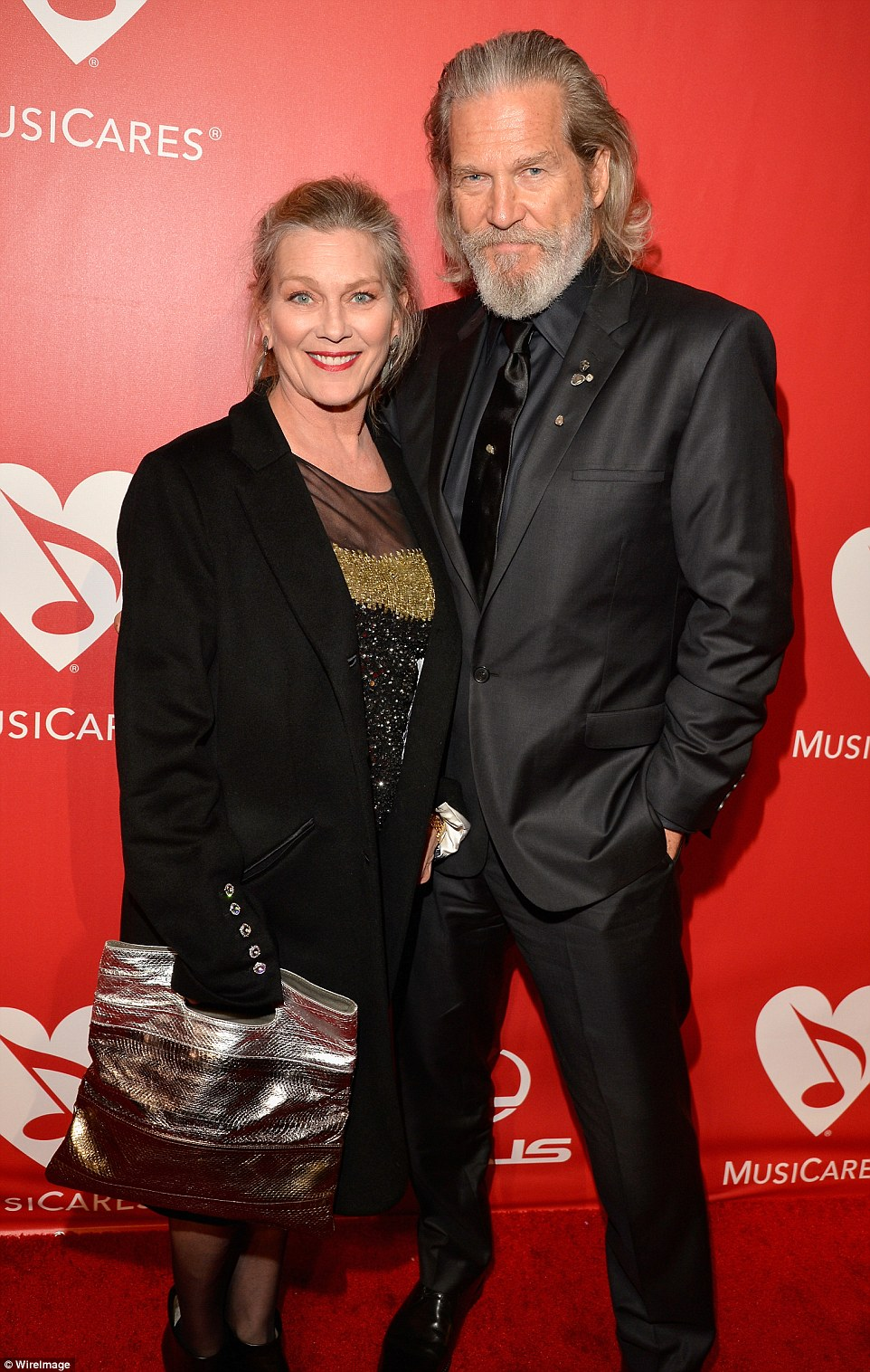 Couple: Jeff Bridges and his wife Susan Geston are seen together at a February 2015 showbiz event