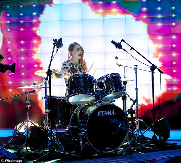 Beat of my drum: The model and actress eventually started playing and went to down on the drum kit