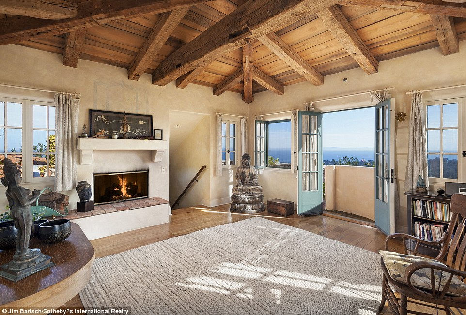 Peace of mind: Jeff Bridges' Montecito villa also features a meditation space in its tower
