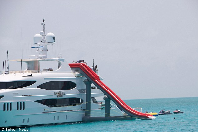 Fancy: They spent a few days on a super luxury yacht, the Amarula Sun, off the Bahamian island of Staniel Cay