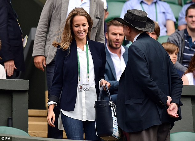 Supporting spouse: Andy's wife Kim Sears was seen taking her place in the box