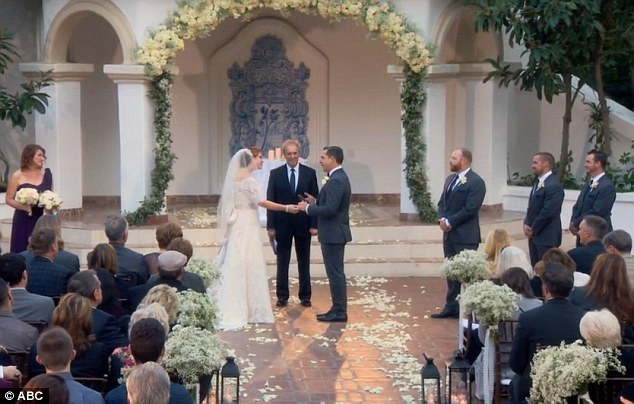 'I do': The happy couple exchanged hand written vows in front of their family and friends, as well as Chris and Heidi