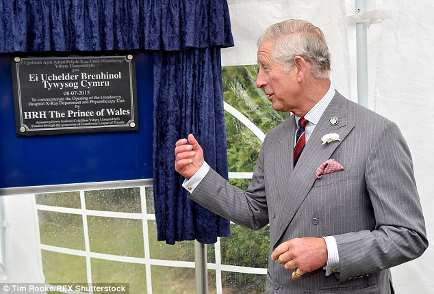 Job done: Charles was there to open the hospital's new X-ray unit
