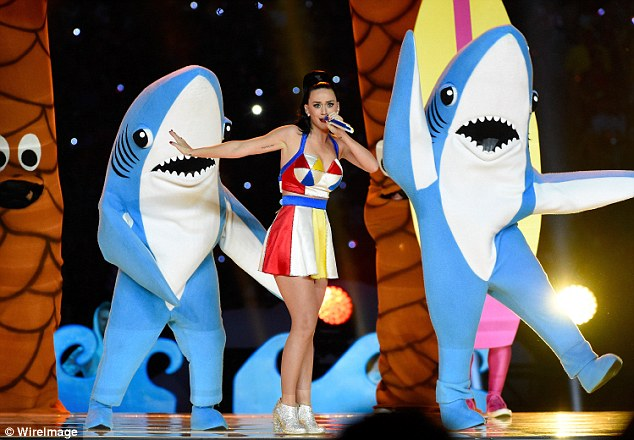 Making a splash: The left shark, otherwise known as dancer Bryan Gaw, almost stole the whole show