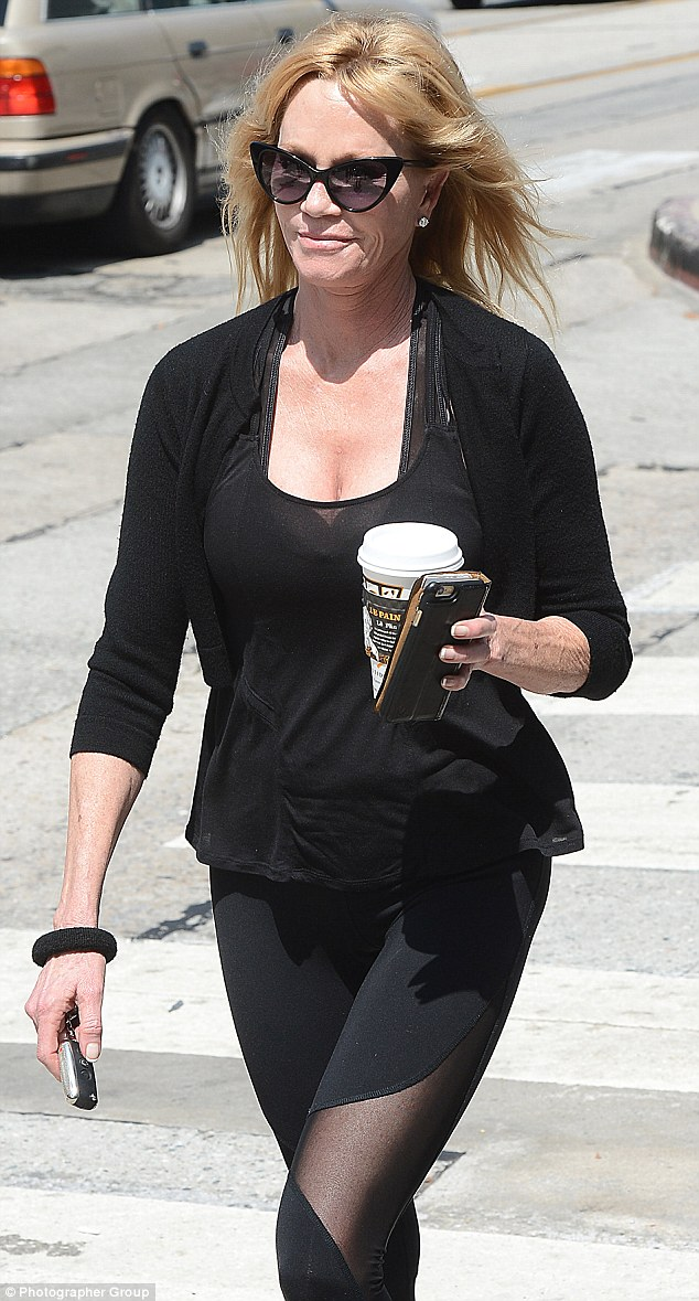 Fashion forward: The Golden Globe-winner was seen in black yoga pants with sheer panels
