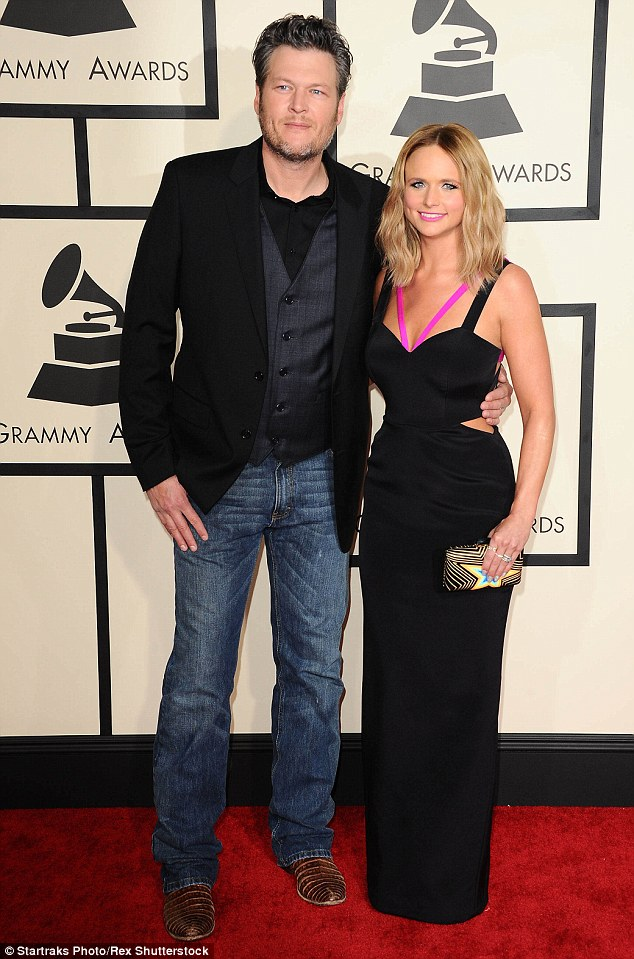 Going it alone: Lambert's husband Blake Shelton will be going ahead with his gig in Calgary on Friday. The couple, see here at the Grammy Awards in LA in February, wed in 2011