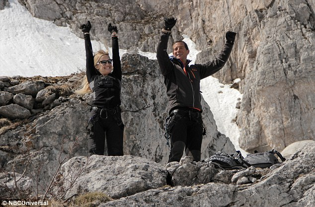 Jubilant: Kate Hudson and Bear Grylls let off steam as they celebrated a particularly hard climb during their 48-hour adventure in the Italian Dolomites for NBC's Running Wild With Bear Grylls