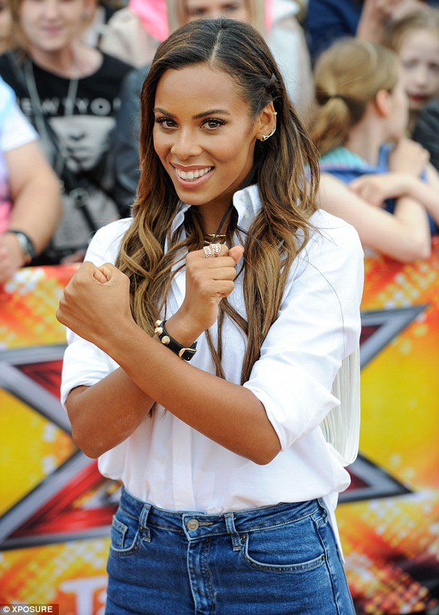 She's got the X Factor: Rochelle made the sign of an X as she prepared for day one
