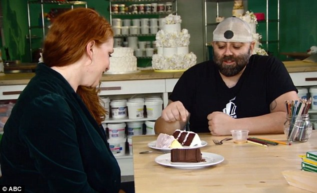 Taste testing: Amber also met with television personality and Ace of Cakes star 'Duff' Goldman, who was making her wedding cake