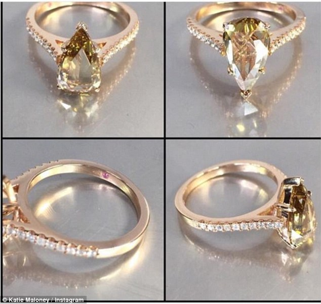 Thought: The sparkler, which was a two carat pear shape champagne diamond, was set in rose gold and featured a tiny pink sapphire which was supposed to represent Tom