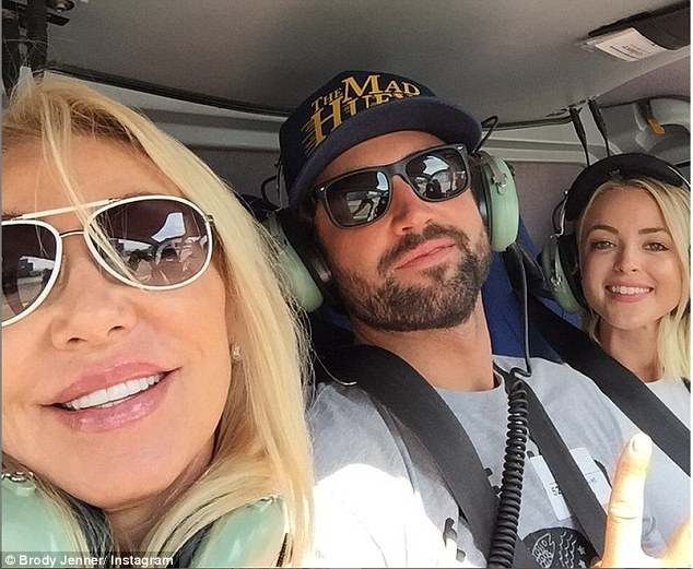 Brother from another mother: Brody's mum Linda Thompson, pictured here with the star and his girlfriend Kaitlynn Carter