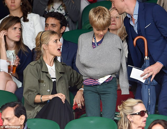 Family outing: Model Laura Bailey brought her son along to the tennis