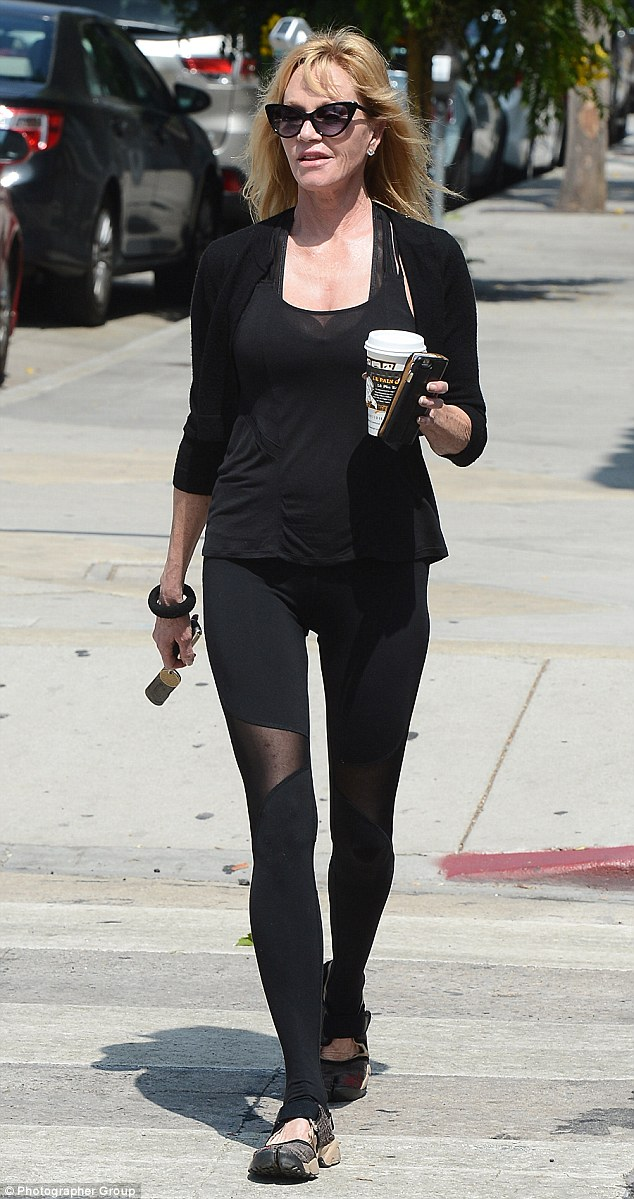 No days off:  Melanie Griffith showcased her slim and trim figure after picking up a coffee at Le Pain Quotidien in West Hollywood on Tuesday