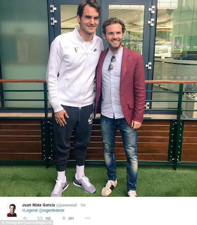 He and team-mate Juan Mata had their picture taken with Swiss legend Roger Federer at the All England Club