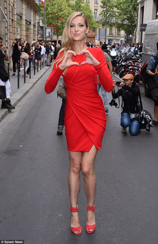 Red hot! Petra also stole the limelight at the Elie Saab Haute Couture presentation