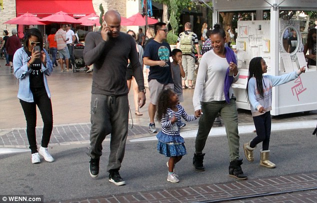 Together: Mel B was seen out and about in Los Angeles earlier in the week with husband Stephen Belafonte and her three daughters, Phoenix Chi, Angel and Madison - pictured on Monday