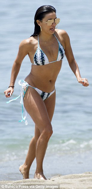 Sunday... Eva turned heads at theGlobal Gift Gala event in Marbella and at the beach in her ensembles