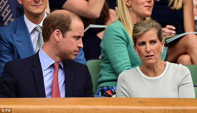 Catching up: The Duke of Cambridge was seen chatting with The Countess of Wessex