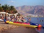Israeli Red Sea resort of Eilat.....Beach Scene. . REXMAILPIX.