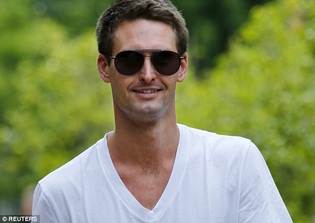 Snapchat CEO Evan Spiegel  enjoys a break between events in the sunny Idaho grounds