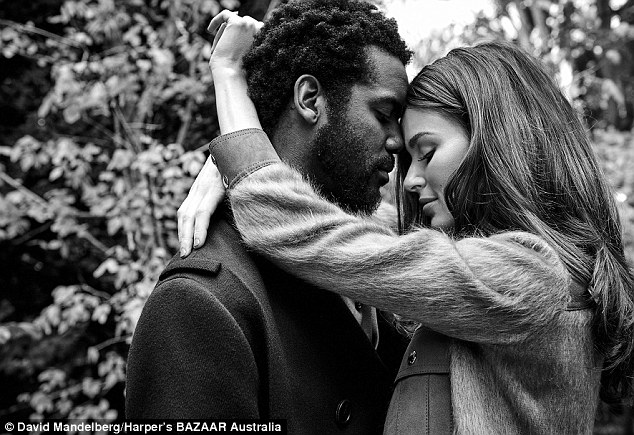 Stunning: The '70s-esque editorial opened with a romantic shot of Nicole and Gary, capturing what looked like an intimate moment between the pair