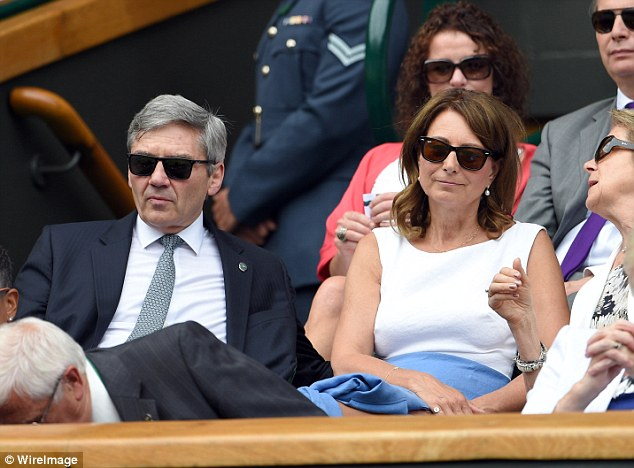 Michael  and Carole Middleton attend the Christina McHale and Sabine Lisicki match on day four of Wimbledon