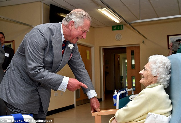 Cheerful: The Prince of Wales was on jovial form as he toured the hospital and met patients