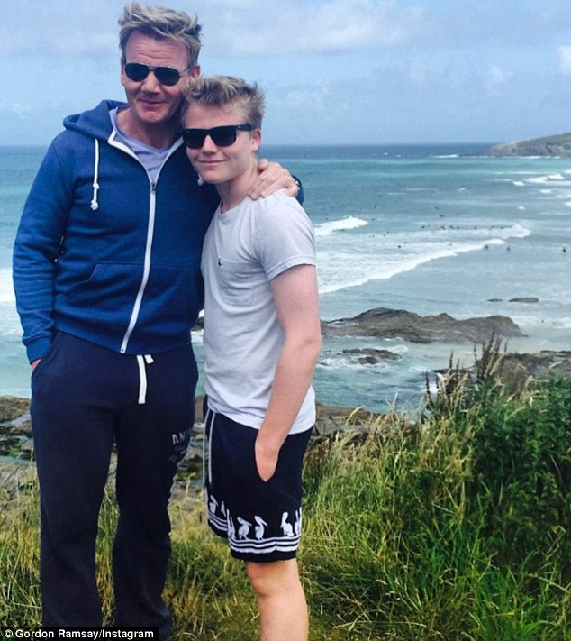 Son-glasses, check! Gordon Ramsay posed up a storm with mini-me son Jack, as the whole family recently enjoyed a stay-cation in Cornwall