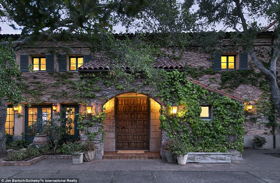 Up for grabs: Jeff Bridges' California villa is on the market for $29.5 million. Here, ivy covers the front of the residence
