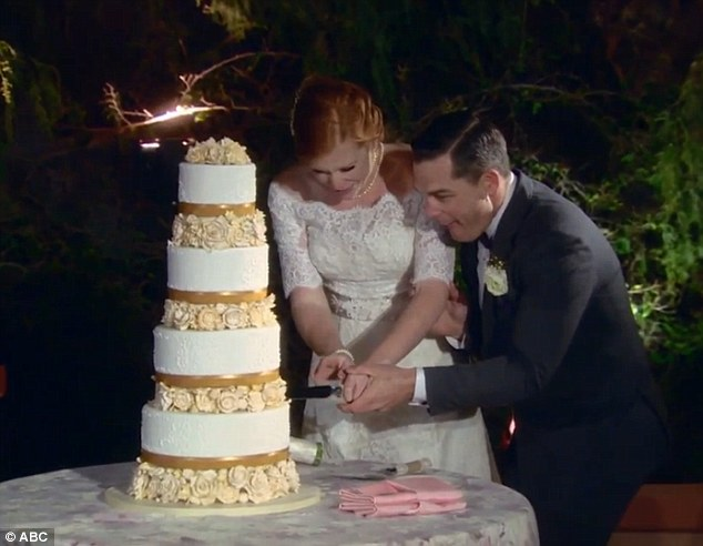 Healthy dessert: Bryce and Amber also enjoyed their wedding cake, which was made without butter or wheat gluten