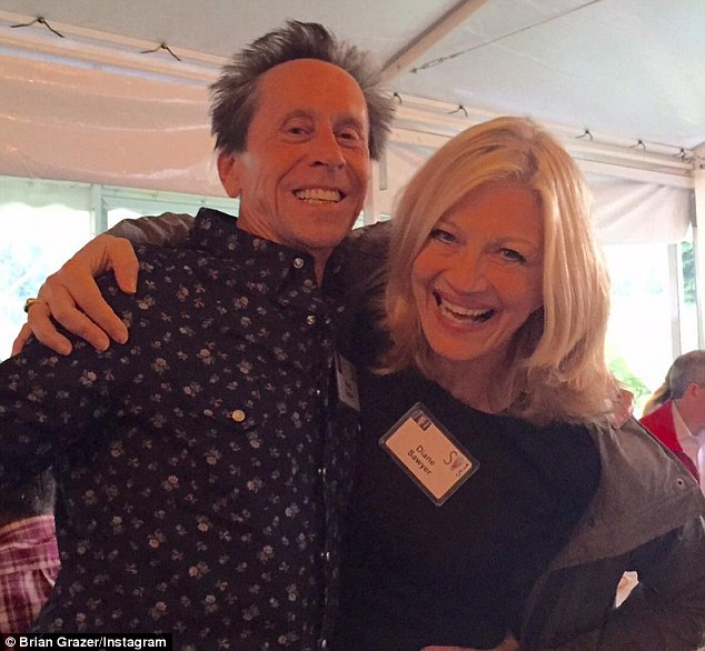 Brian posted this photo of himself on Instagram on Tuesday night whooping it up with Diane Sawyer