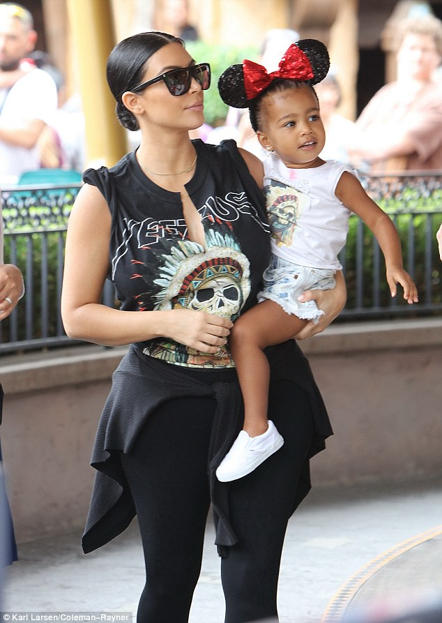 She loves this place: North West was seen at Disneyland in Anaheim, California on Wednesday with her mother Kim Kardashian