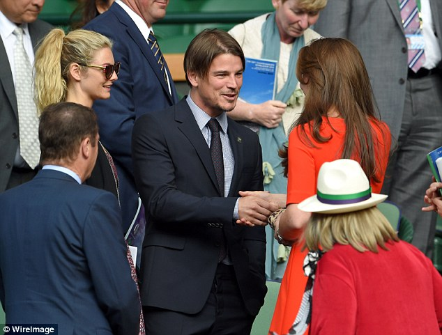 Fancy seeing you here! Actors Josh Hartnett and Tamsin Egerton looked delighted as they met with the Duke and Duchess of Cambridge at Wimbledon on Wednesday