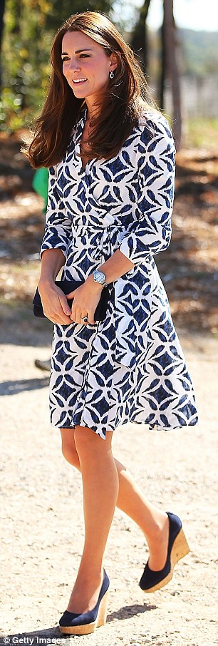 The Duchess of Cambridge wears a £295 Diane von Furstenberg dress to the Winmalee Guide Hall in Australia last year