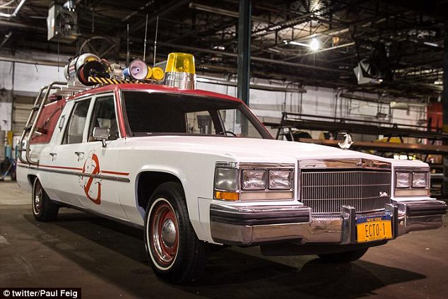 Spirit slaying machine:Director Paul Feig took to his Twitter on Tuesday night to show off the newest edition to the Ghostbusters reboot cast - the Ecto-1 car