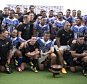 New Zealand All Blacks and the Samoan team gather for a photograph following their rugby union match at Apia Park in Apia, Samoa, Wednesday, July 8, 2015. New Zealand won the match 25-16 in the All Blacks' first-ever test match in the Pacific Island nation. (Dean Purcell/New Zealand Herald via AP) NEW ZEALAND OUT, AUSTRALIA OUT