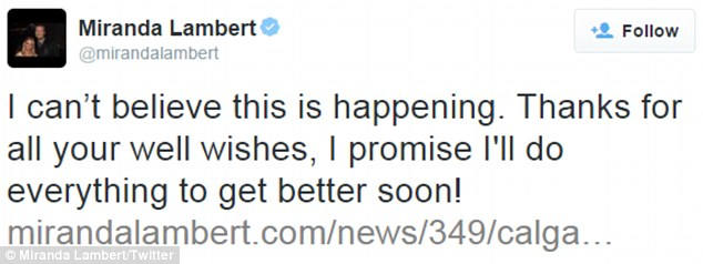 Apologized: Lambert, 31, tweeted her disappointment on Wednesday and thanked fans for their support