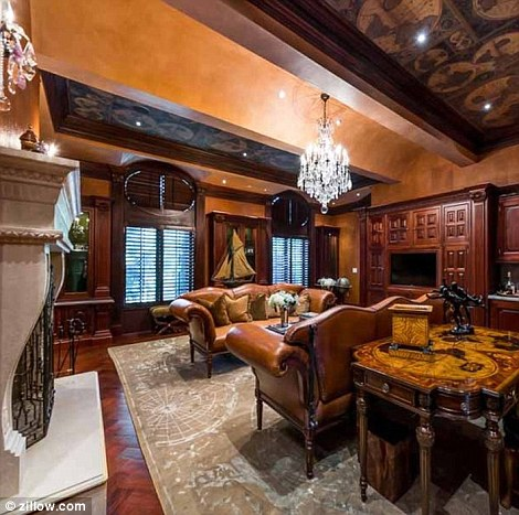 Luxury touches:Built in 2007, the creator of the Madea franchise's home also more grand fireplaces and chandeliers than most castles