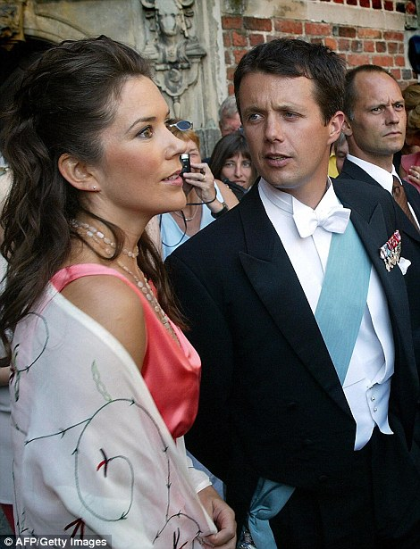 The transformation: A glamorous Princess Mary and husband Prince Frederik pictured in 2002 (left) and last month at the wedding ofPrince Carl Philip of Sweden